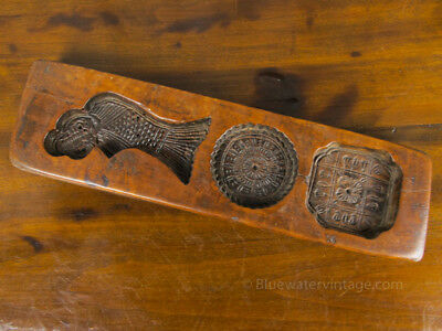 Antique Chinese Moon Cake Mold Traditional Symbols hand carved fruitwood, OCT46