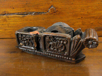 Fine Antique Chinese carpenters tool carved elm wood chalk line OCT55