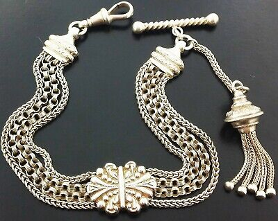 Beautiful Antique Victorian Solid Silver Albertina Watch Chain - Tassel Fob