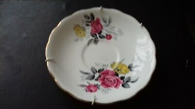 Royal Vale Bone China 14cm Diameter Saucer / Plate with Red & Yellow Rose Design