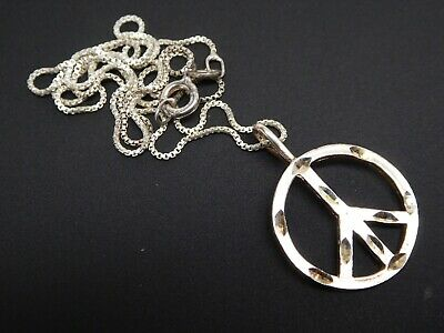 """Vintage Peace Sign Charm Sterling Silver 925 Retro Pendant Chain Necklace 18"""""""