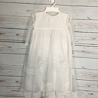 Vintage Baby Christening Gown Baptism White Bloomers Size Mex 1