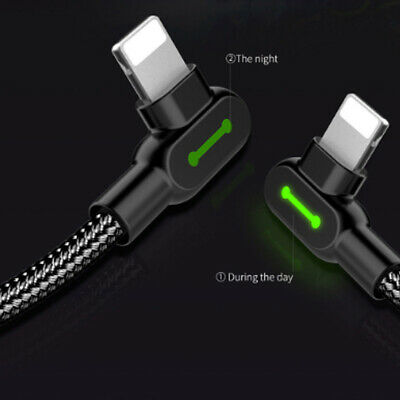 Braided 90°Degree Right Angle lightning USB Fast Data Charger Cable AU MCDODO