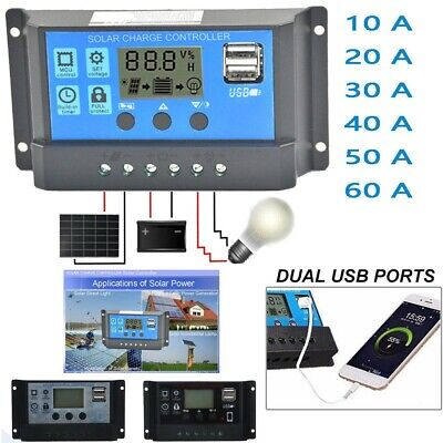 10-60A Solar Panel Battery Regulator Charge Controller 12/24V Auto With Dual USB