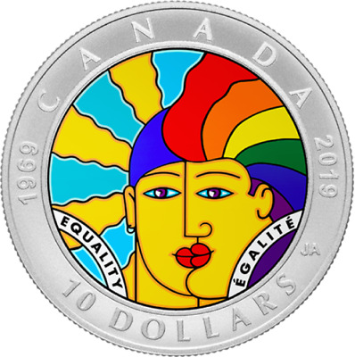 2019 Canada EQUALITY $10 Coloured Commemorative - COIN ONLY (Presale )