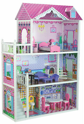Brand New Large Quality Bubbadoo Wooden Doll House Fits Barbie Or Bratz Dolls