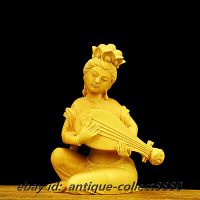 "5.1""Chinese Box-wood Hand Carved Pretty Beauty Goddess Female Celestial Play Qin"