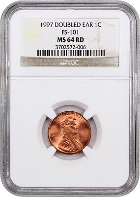 1997 1c NGC MS64 RD (Doubled Ear, FS-101) Lincoln Cent