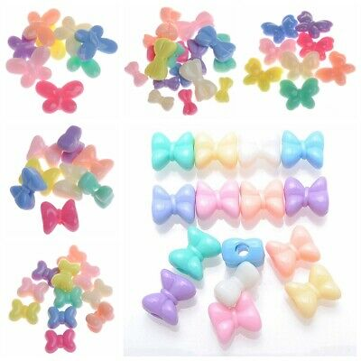 50 Mixed Pastel Color Acrylic Butterfly Bows Bowknot Charm Beads Various Shape