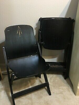 Vintage 4 Black US American Seating Co Folding Wooden Chairs Grand Rapids MI