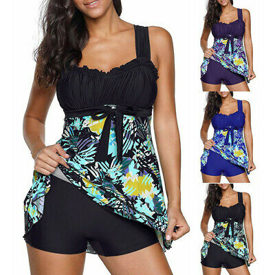 2PCS Womens Floral Print Bikini Set Beach Swimdress Swimsuit Bathing Plus Size