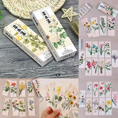 32Pc/Set Flower Leaves Pattern Bookmark Book Reading Marks Floral Stationery Acc