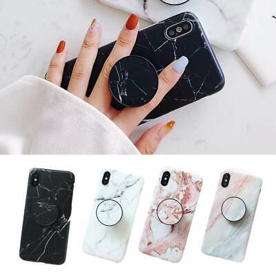 Design For iPhone 6 7 8 Plus XS MAX Marble Case With Pop Up Holder Socket Relief