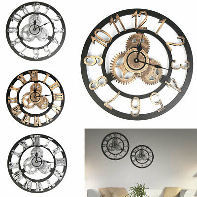 "Large Wall Clock Antique 3D Gear Retro Roman Numerals Silent Sweep 12"" 15 inch"