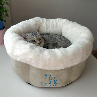 Round Deep Sleep Nest Kennel Plush Puppy Cat Bed Mat Pad Pet Kitten Dog Cushion