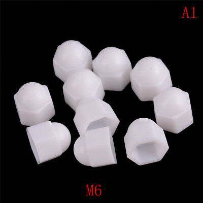 10x M6 M8 M10 M12 White Dome Bolt Nut Protection Caps Cover Hex Hexagon Popul_TI