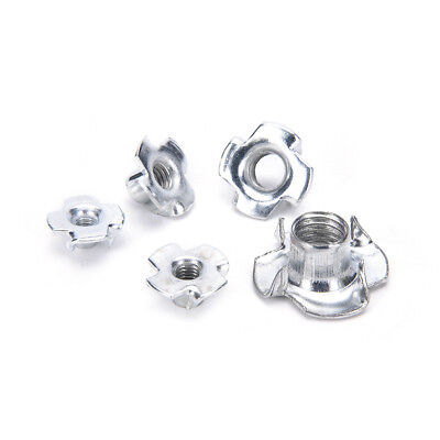 10X M4/M5/M6/M8/M10 Four Prong Furniture T Nut Inserts For Wood Zinc Plated_TI