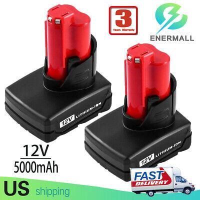 2X 5.0Ah For Milwaukee Replace for M12 12V Li-ion Battery 48-11-2402 48-11-2440