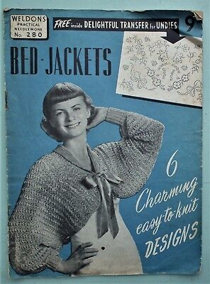 Vintage 40s 50s KNITTING PATTERNS BOOK BED JACKETS original lingerie embroidery