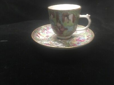 Antique Late 19th Chinese Porcelain Famille Rose Cup & Saucer