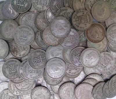 1937 - 1946 Sixpence Coins x 100 0.500 Silver Circulated
