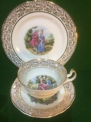 Imperial Bone China 22kt Gold Tea Cup, Saucer & Plate Trio