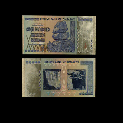Zimbabwe One Hundred Trillion Dollar Gold Banknote Paper Money Worth Collections