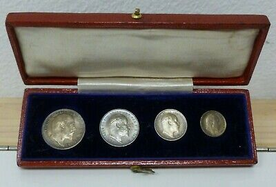 Edward VII 1908 Silver Maundy Set in Original Dated Box 4d - 1d Choice Unc S3985