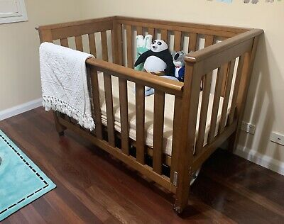 As New Grotime Brown Wooden Baby Cot