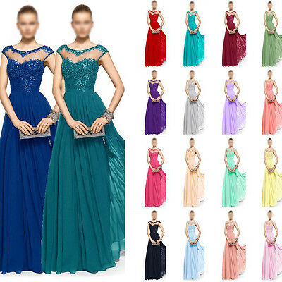 Formal Evening Wedding Chiffon Ball Gown Long Prom Bridesmaid Party Dress