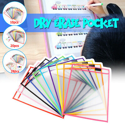 28Pcs Resuable Dry Erase Pocket Sleeves Students Kids Write & Wipe Tool Pockets
