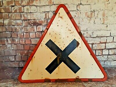 Vintage Industrial Enamel French Road Street Sign Cross No Priority Garage Shed