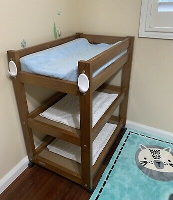 As New Light Brown Wooden Baby Change Table