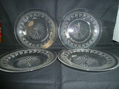 Beautiful Set of 4 Large Quality Victorian Cut & Etched Glass Ice Plates