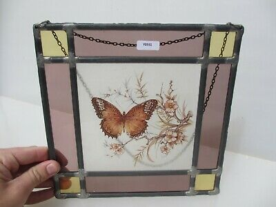 """Stained Glass Window Hanger Leaded Butterfly Brass Chain Panel Old Flowers 9"""""""