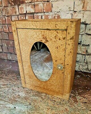 Old Vintage Industrial Mirrored Metal Medical Medicine Bathroom Cabinet 1950's