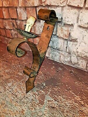 Antique Vintage French Old Wrought Iron Gothic Wall Sconce Light Lantern Lamp
