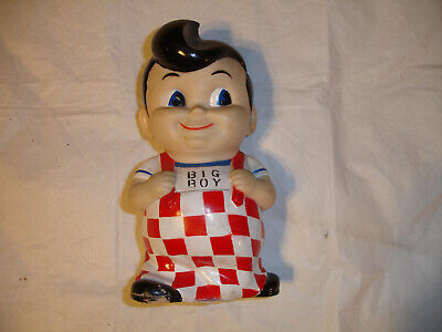 "Bobs Big Boy Coin Money Bank 8"" Plastic Vinyl Red White Doll Elias Bros Frisch's"