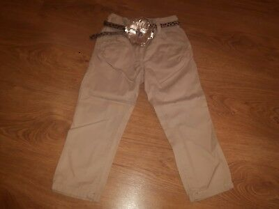 Girls Next Beige Trousers with Flower Belt, size 3 years