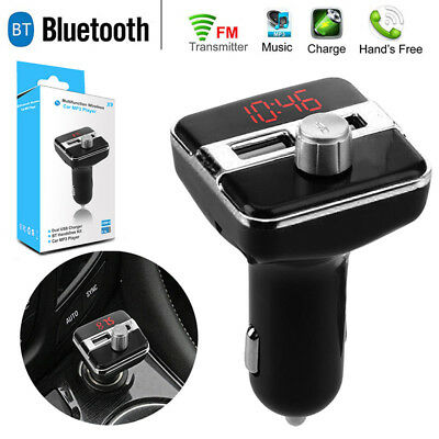 Handsfree Wireless Bluetooth Car Kit FM Transmitter Radio MP3 Player USB-Charger