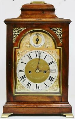 Antique English Walnut Bell Top Twin Fusee Verge Escapement Bracket Clock