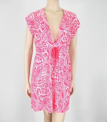 fee13dc99a1 Dotti Swimsuit Cover Up Dress Womens Sz M Beach Swimwear Coral Hot Pink  Hooded