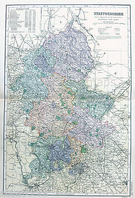 STAFFORDSHIRE -  Original large & detailed Antique Map -  BACON , 1897.