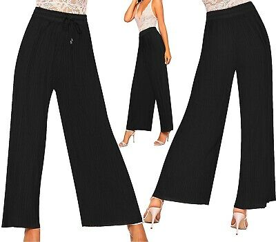 WOMENS LADIES BELTED PALAZZO TROUSERS LONG CRINKLE PLEATED STRETCHY PANTS 8-16