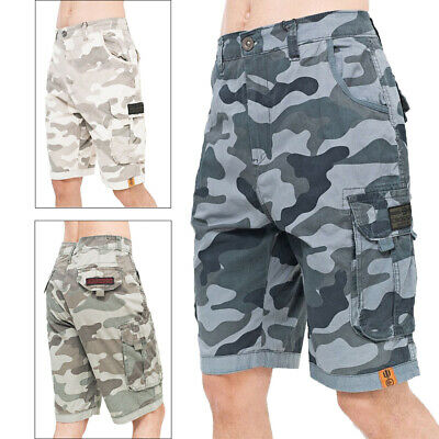 Crosshatch Mens Watchford Camo Shorts Combat Cargo Army 3/4 Knee Length Pants