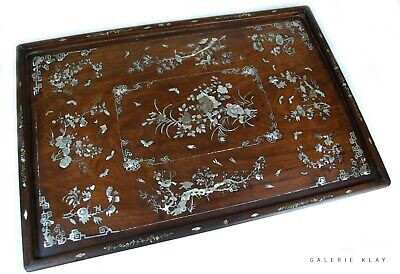 Large Wooden Opium Tray with Mother of Pearls inlays