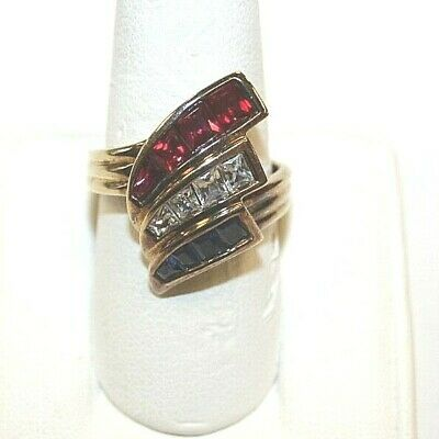 Womens Vintage Estate Sterling Silver Onyx Colored Stone Ring 6.2g E4483