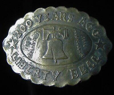Vintage Original 1976 Liberty Bell Belt Buckle 200 Years Ago Brass Plated