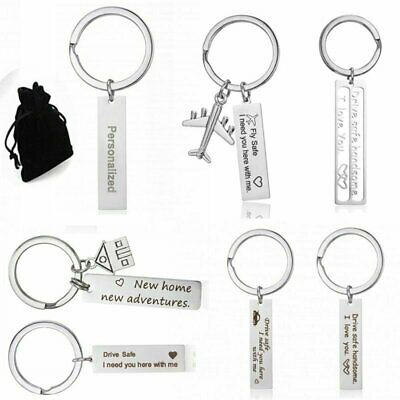 Stainless Steel Custom Personalized Engraved Keychain Car Drive Safe Keyring New