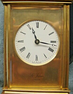 Vintage St, James Off London  Brass Carage Clock Fully Working  With Keys